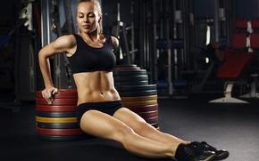 Обои blonde, pose, workout, fitness