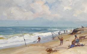 Картинка море, пляж, пейзаж, картина, Дженсен-Бич. Флорида, Emile Albert Gruppe