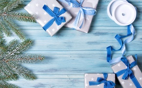 Картинка Новый Год, Рождество, blue, merry christmas, bow, decoration, gifts