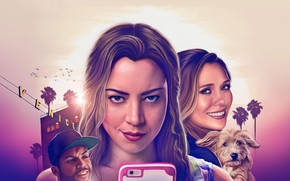 Обои cinema, film, dog, smartphone, O'Shea Jackson Jr., blonde, girl, Ingrid Goes West, movie, Aubrey Plaza, ...