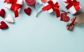 Картинка любовь, фон, праздник, подарок, свечи, сердечки, день влюбленных