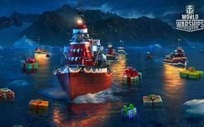 Картинка море, скалы, игра, корабли, подарки, World Of Warship, Мир кораблей