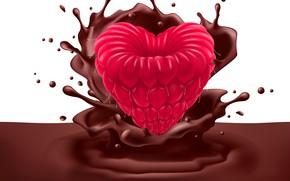 Картинка малина, шоколад, всплеск, ягода, chocolate, Berries