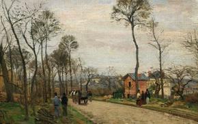 Картинка пейзаж, картина, Камиль Писсарро, Дорога в Лувесьен