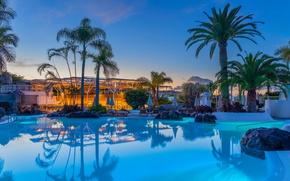 Картинка камни, пальмы, вечер, бассейн, отель, курорт, Испания, лежаки, Канары, Playa Fanabe