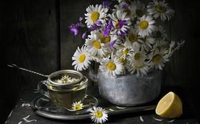 Обои колокольчики, ромашки, натюрморт, букет, чай, лимон, кружка, чайник