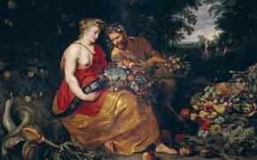Картинка картина, Питер Пауль Рубенс, мифология, Франс Снейдерс, Pieter Paul Rubens, Церера и Пан