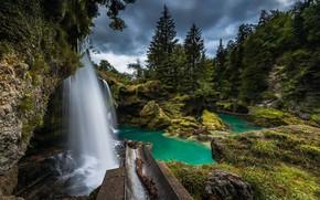 Обои природа, пейзаж, озеро, красота, водопад