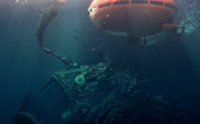 Картинка русалка, рыба, батискаф, trapped, szene klein, explorer-x02