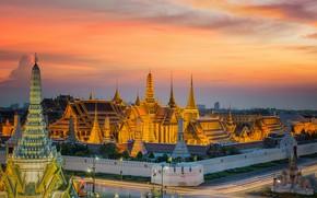 Обои закат, вечер, Бангкок, Thailand, мегаполис, Bangkok