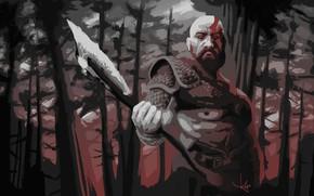 Картинка axe, demigod, armor, Kratos, God of War, man, hero, God, chest, powerful, strong, demi god, ...
