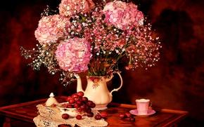 Картинка Цветы, Рисунок, Букет, Чашка, Арт, Art, Посуда, Flowers, Натюрморт, гортензия, Bouquet, Still Life, Hortensia