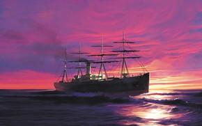 Картинка волны, корабль, atlantic, Transatlantic Ships