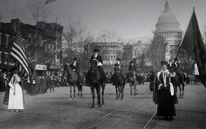 Обои США, марш, 3 марта 1913 года, 8-е марта, женщины-суфражистки, Вашингтон