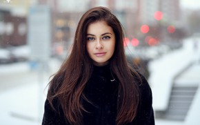 Картинка зима, снежинки, портрет, макияж, Alina, прическа, шуба, шатенка, красотка, боке, Dmitry Arhar