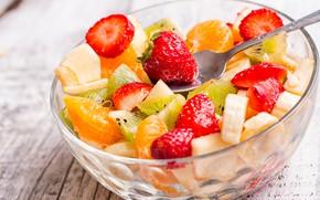 Картинка киви, клубника, фрукты, банан, салат