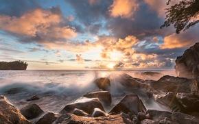 Картинка море, волны, солнце, лучи, свет, камни