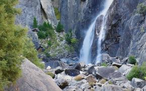 Обои США, камни, Калифорния, скалы, Йосемитский национальный парк, Йосемити, водопад, горы