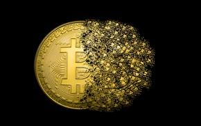 Обои logo, bitcoins, coins, GOLD