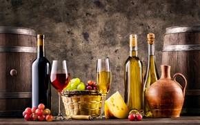 Картинка вино, бокалы, бутылки, фрукты, корзинка