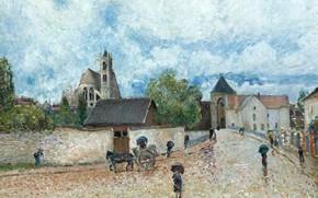 Картинка дом, улица, картина, повозка, городской пейзаж, Alfred Sisley, Альфред Сислей, Moret-sur-Loing. The Rain, Морэ-сюр-Луэн. Дождь