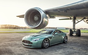 Обои airplane, turbine, Vantage, Aston martin