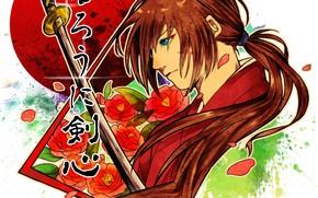 Картинка Japan, rose, flower, anime, katana, ken, blade, samurai, asian, kimono, hana, scar, hitokiri, Samurai X, …