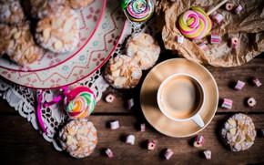 Картинка кофе, печенье, конфеты, напиток