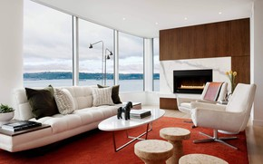Картинка комната, интерьер, камин, гостиная, Pacific Tower Residence