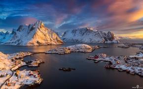 Обои зима, небо, облака, свет, городок, Исландия, фьорд