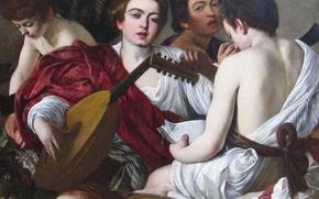 Картинка портрет, картина, Музыканты, Караваджо, жанровая, Микеланджело Меризи да Караваджо
