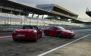 Картинка Porsche, трибуны, гоночная трасса, 718 Cayman GTS, 718 Boxster GTS