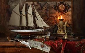 Картинка перо, модель, корабль, карта, свеча, труба, still life, сургуч, Andrey Morozov, Андрей Морозов