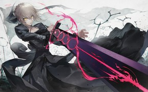 Обои девушка, меч, аниме, арт, fate grand order, сейбер