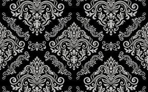 Обои серый, vector, черный, орнамент, vintage, grey, background, pattern, element, floral, seamless