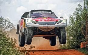 Обои Авто, Спорт, Машина, Скорость, Гонка, Peugeot, Фары, Red Bull, Rally, Dakar, Дакар, Внедорожник, Ралли, Sport, ...