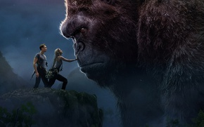 Картинка King Kong, Girl, Jungle, Fantasy, Rock, Legendary Pictures, Skull, Female, Guns, Big, Blonde, Mountains, EXCLUSIVE, ...
