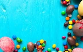 Картинка фон, праздник, шоколад, яйца, конфеты, пасха, сладости, разноцветные
