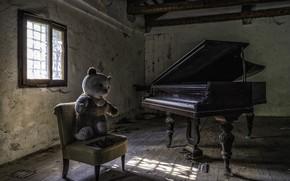 Картинка мишка, стул, пианино