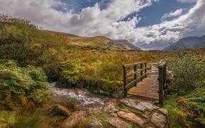 Картинка горы, ручей, мостик, Уэльс, Сноудония
