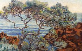 Картинка пейзаж, картина, импрессионизм, Арман Гийомен, Armand Guillaumin, Красные Скалы в Аге