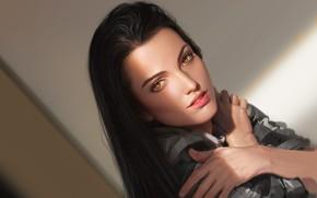 Картинка взгляд, девушка, волосы, руки, арт
