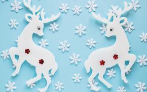 Обои текстура, олени, снежинки, голубой фон