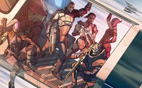 Обои Mass Effect, drawing, Garrus Vakarian, Ashley Williams, Commander Shepard, Liara T'Soni, Tali'Zorah, Urdnot Wrex