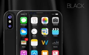 Картинка Apple, iPhone, black, camera, hi-tech, smartphone, tecnology, iPhone X