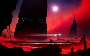 Обои futuristic, silhouette, cityscape, Towers, landscape, lights, fantasy city, fantasy, artwork, futuristic landscape, skyscrapers, sun, digital ...
