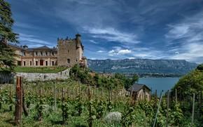 Картинка небо, горы, озеро, замок, Франция, sky, France, mountains, lake, houses, Bourdeau
