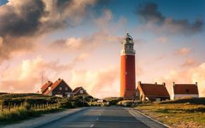Картинка дорога, маяк, дома, Нидерланды, Голландия, lighthouse, Texel