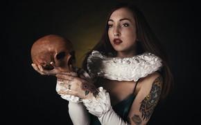 Картинка девушка, череп, Greta Magnani