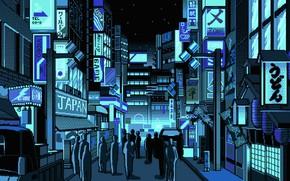 Обои Город, Япония, Люди, Арт, Пиксели, PXL